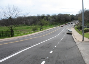 The new lanes at the south end of Parker Lane include one lane for parallel parking, plus two bike lanes and two lanes for cars.