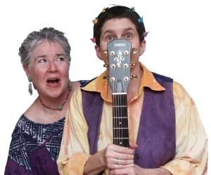 Maurine McLean and Lisa Rogers perform as the Therapy Sisters and Las Gabacha-chas.
