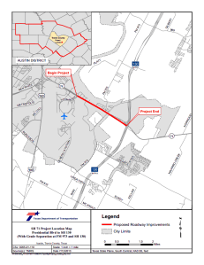 The Texas Department of Transportation and the Central Texas Regional Mobility Authority have proposed the addition of toll lanes, a bridge and other new features to Texas 71 between the entrance to Austin-Bergstrom International Airport and the Texas 130 toll road. Click to enlarge.