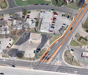The layout of the southbound lanes of Burleson Road (orange) don't match the traffic pattern at the intersection with Ben White Boulevard (Texas 71). As this aerial photo shows, about twice as many drivers use the  right lane as others, causing traffic back-ups.